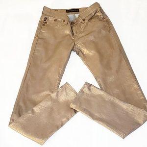 Rock and Republic Copper Metallic Denim Jeans